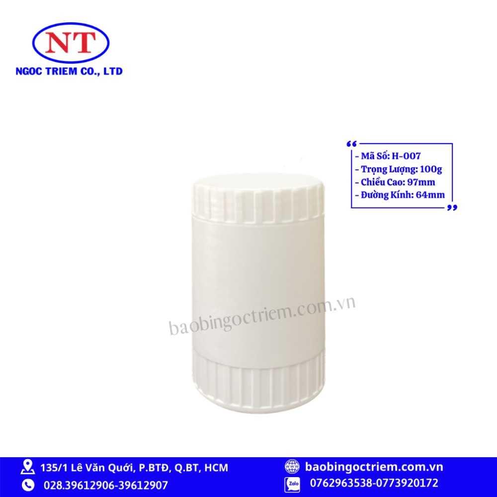 Hủ Nhựa HDPE 100g H-007 - BAO BÌ NGỌC TRIÊM0