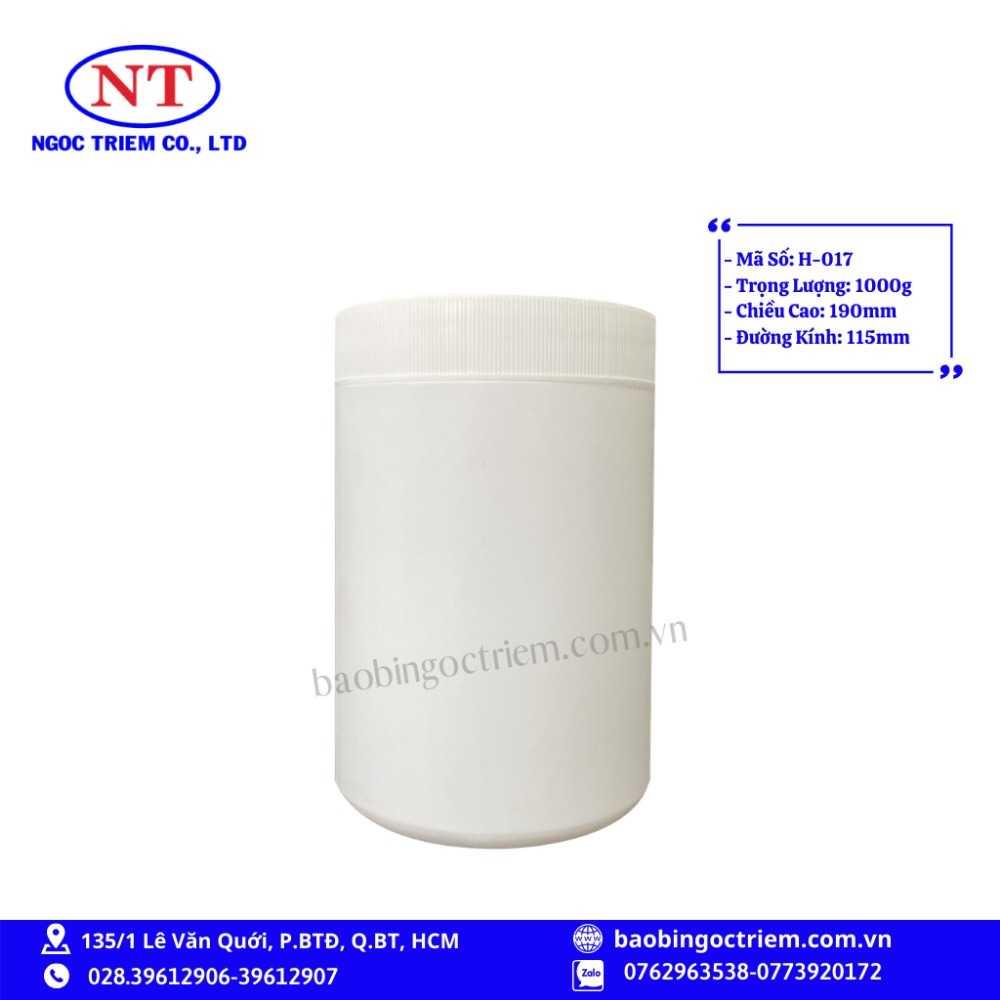 Hủ Nhựa HDPE 1000g H-017 - BAO BÌ NGỌC TRIÊM0