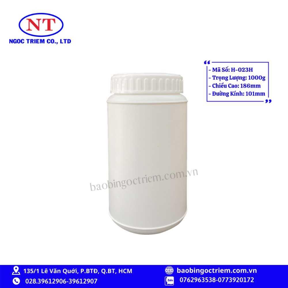 Hủ Nhựa HDPE 1000g H-023H - BAO BÌ NGỌC TRIÊM0