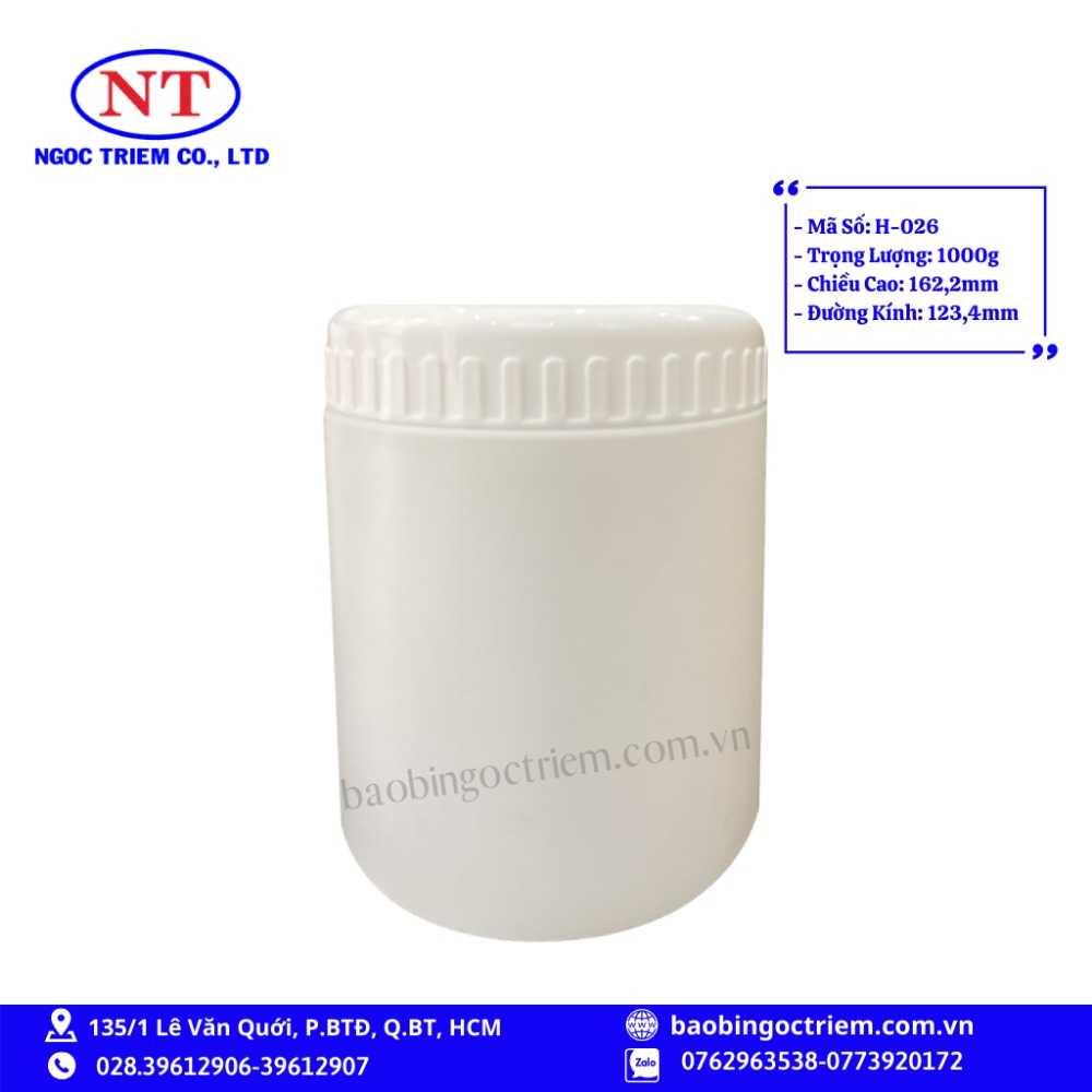 Hủ Nhựa HDPE 1000g H-026 - BAO BÌ NGỌC TRIÊM0