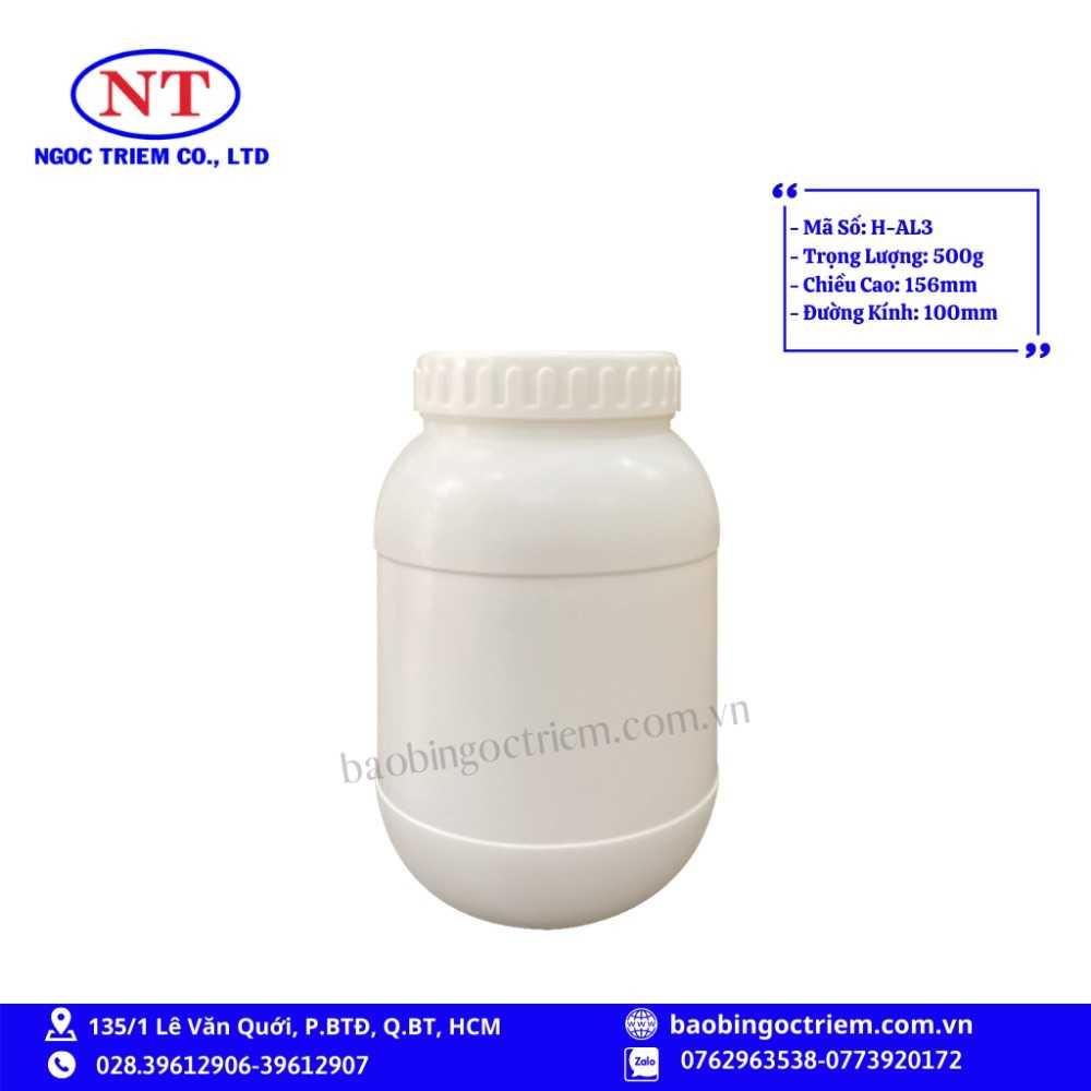 Hủ Nhựa HDPE 500g H-AL3 - BAO BÌ NGỌC TRIÊM0