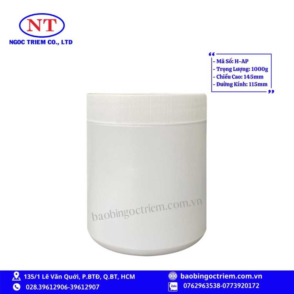Hủ Nhựa HDPE 1000g H-AP - BAO BÌ NGỌC TRIÊM0
