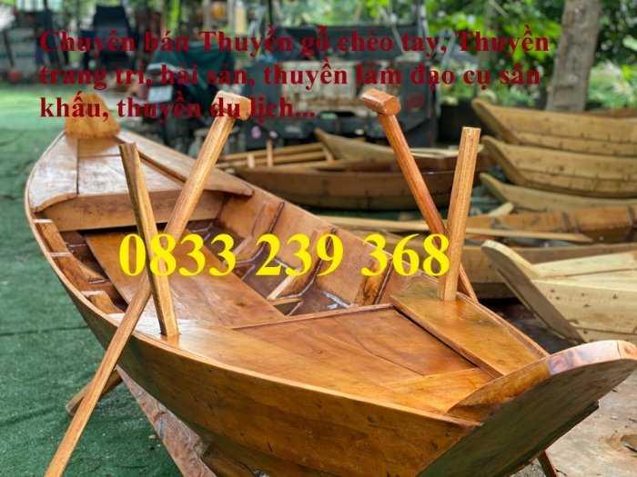 Thuyền gỗ ba lá, Thuyền gỗ trang trí, Thuyền gỗ chụp ảnh 3m, 4m có sẵn0