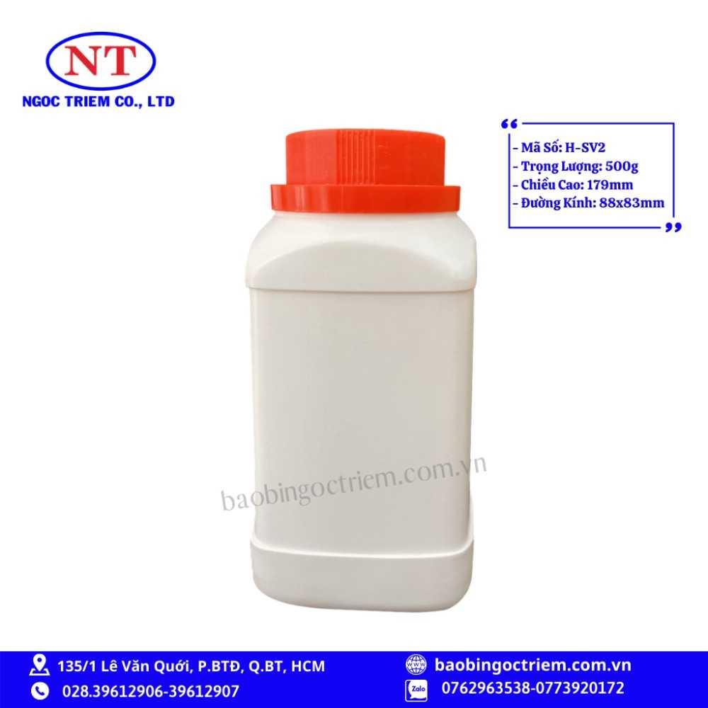 Hủ Nhựa HDPE 500g H-SV2 - BAO BÌ NGỌC TRIÊM0