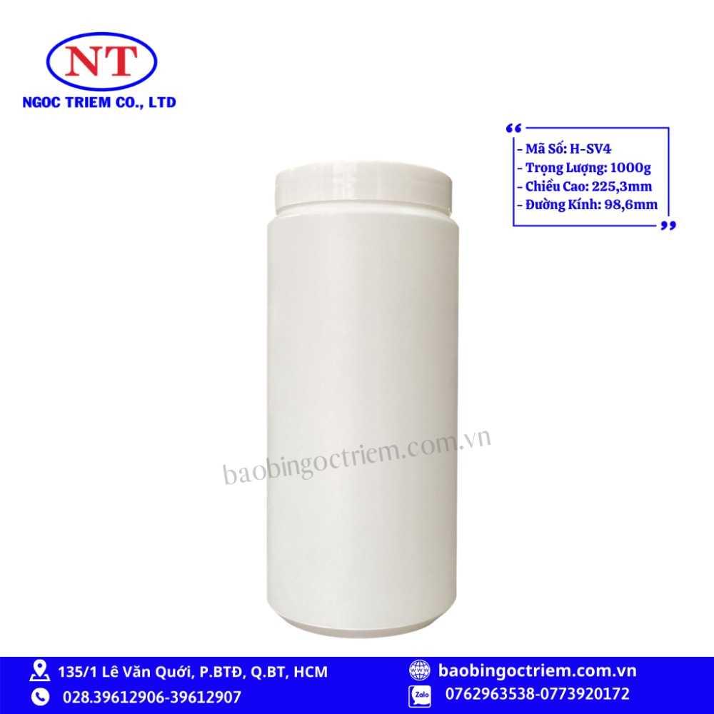 Hủ Nhựa HDPE 1000g H-SV4 - BAO BÌ NGỌC TRIÊM0