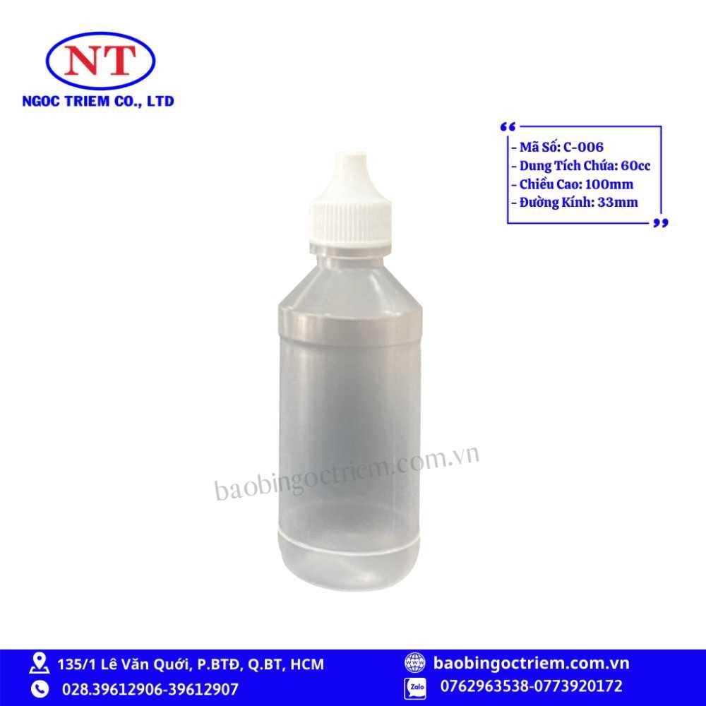 Chai Nhựa HDPE 60cc C-006 - BAO BÌ NGỌC TRIÊM0