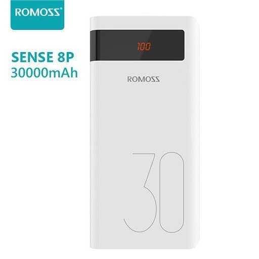 Pin Phòng Romoss Sense 8P+ dung lượng lớn 30000 MAH sạc nhanh 3.0 Có LCD0
