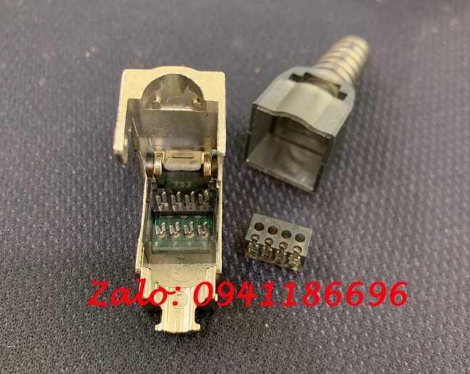 Đầu nối RJ45 Cat.6A, đầu bấm hạt mạng chống nhiễu Cat6A STP không dùng tool có chụp mạng5