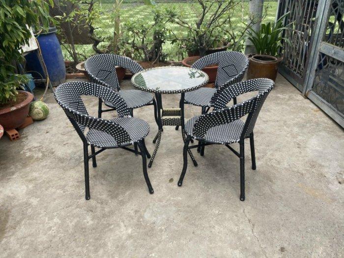 Bàn ghế cafe bạch tuột nhựa mây giá rẻ0
