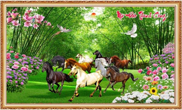Tranh ngựa 3D - tranh gạch1