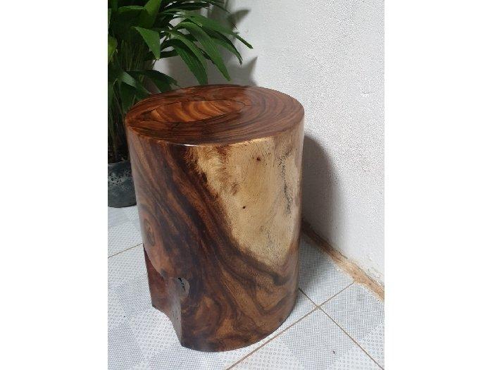 Đôn gỗ me tây tự nhiên a4 (d29cm x h40cm