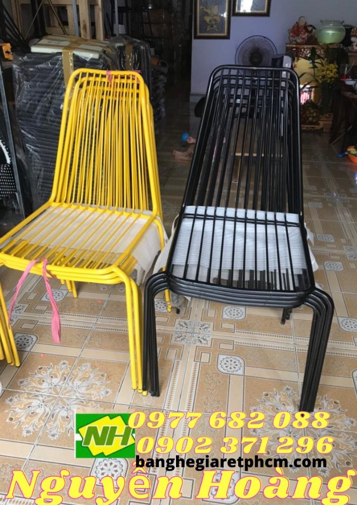 Ghế sắt vàng, đen, xanh, trắng sơn tĩnh điện Nội Thất Nguyễn Hoàng0
