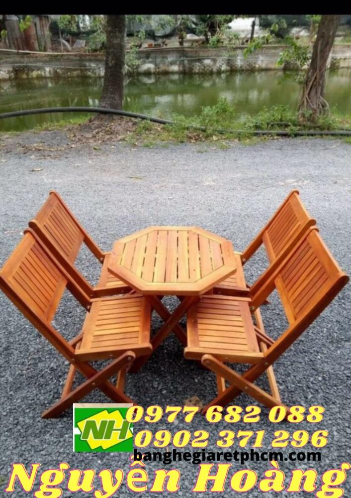 Ghế gỗ xếp gọn bàn gỗ bát giác chân thấp nguyên bộ0