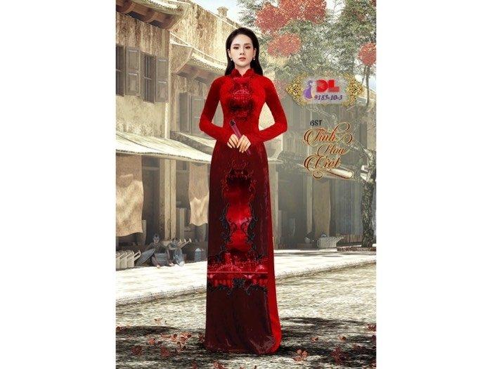 Vải áo dài nhung đính đá 9185 - 10 - 3 của vải áo dài Kim Ngọc0