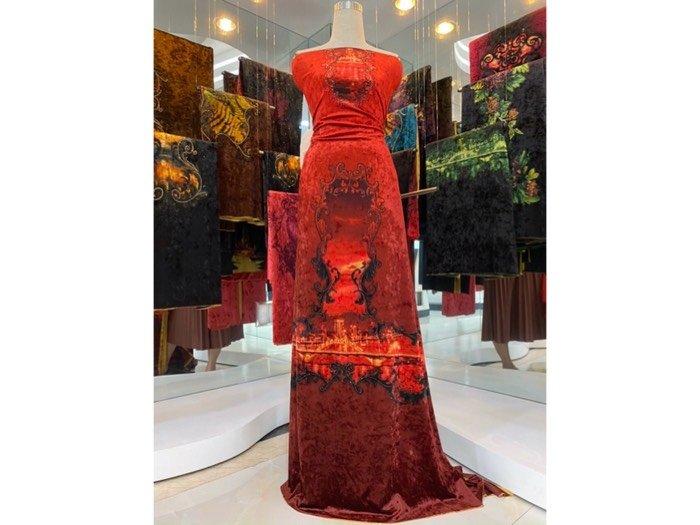 Vải áo dài nhung đính đá 9185 - 10 - 3 của vải áo dài Kim Ngọc1