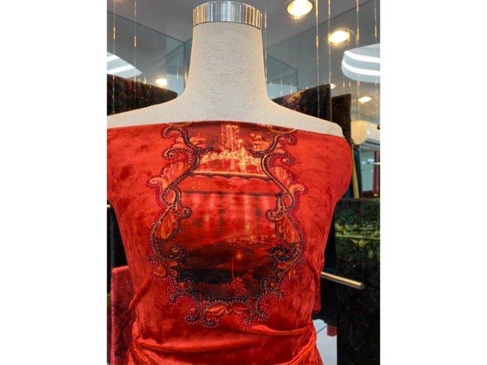 Vải áo dài nhung đính đá 9185 - 10 - 3 của vải áo dài Kim Ngọc2