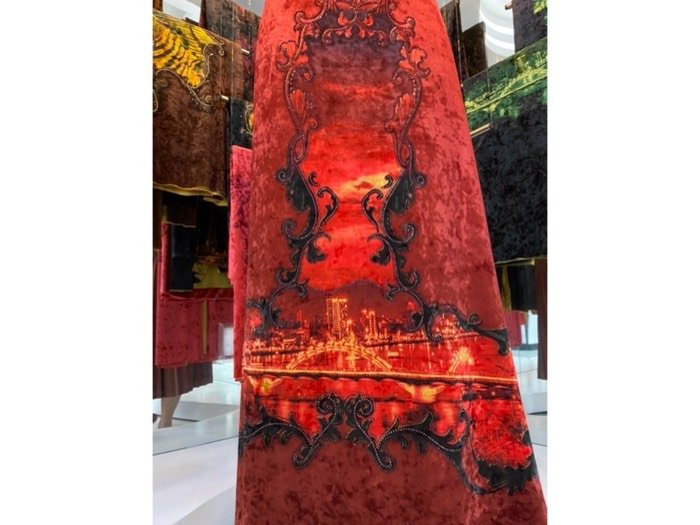 Vải áo dài nhung đính đá 9185 - 10 - 3 của vải áo dài Kim Ngọc3