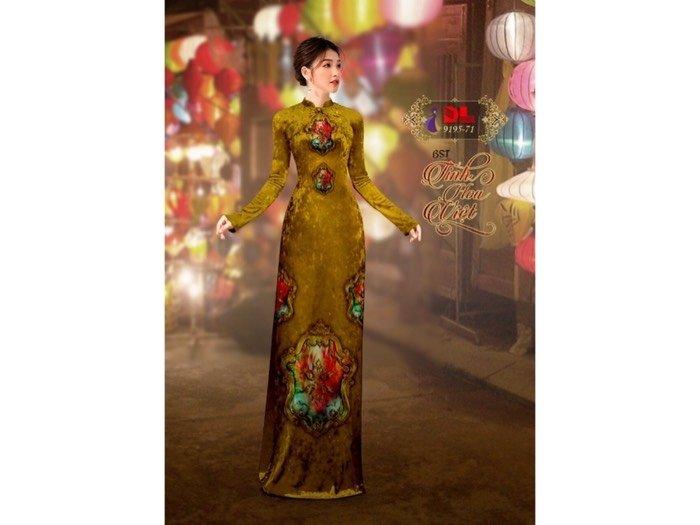 Vải áo dài nhung đính đá 9195-71 của vải áo dài Kim Ngọc0
