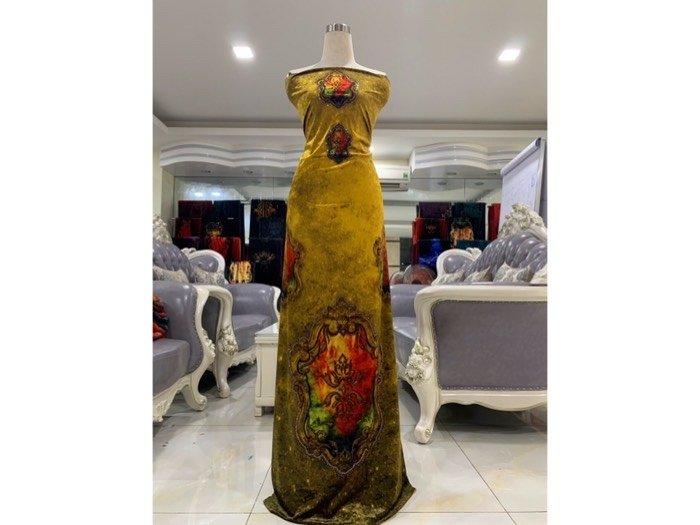 Vải áo dài nhung đính đá 9195-71 của vải áo dài Kim Ngọc1