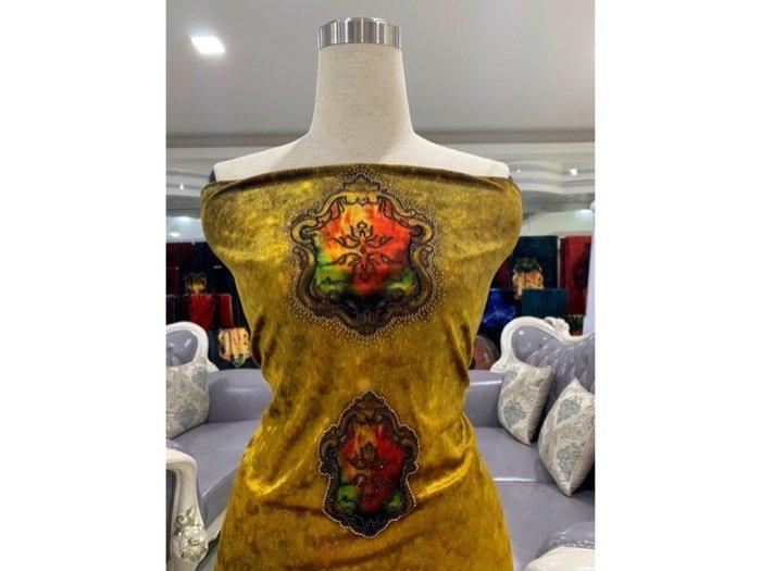 Vải áo dài nhung đính đá 9195-71 của vải áo dài Kim Ngọc2
