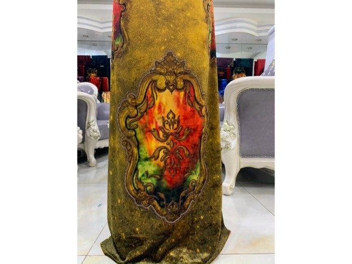 Vải áo dài nhung đính đá 9195-71 của vải áo dài Kim Ngọc3