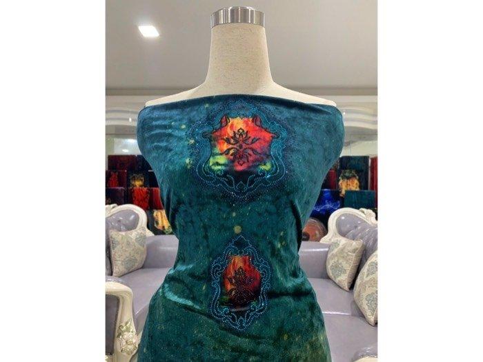 Vải áo dài nhung đính đá 9195-142