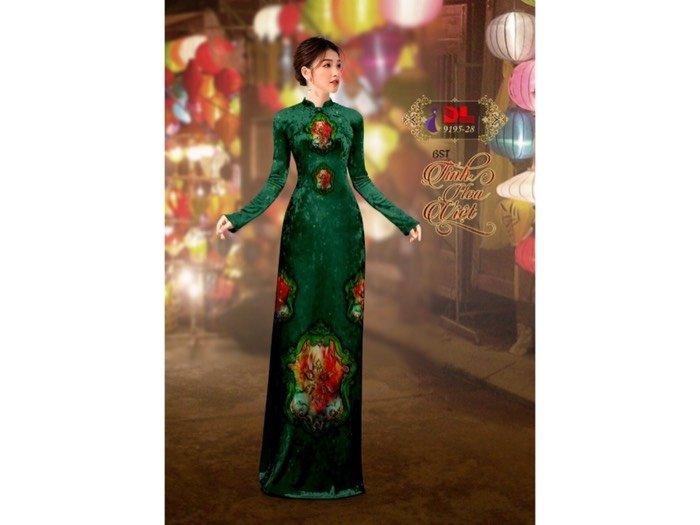 Vải áo dài nhung đính đá 9195-28 của vải áo dài Kim Ngọc0