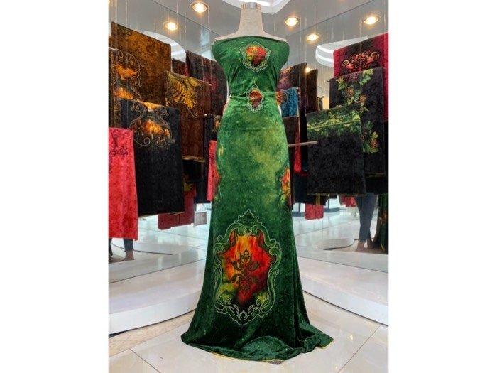 Vải áo dài nhung đính đá 9195-28 của vải áo dài Kim Ngọc1