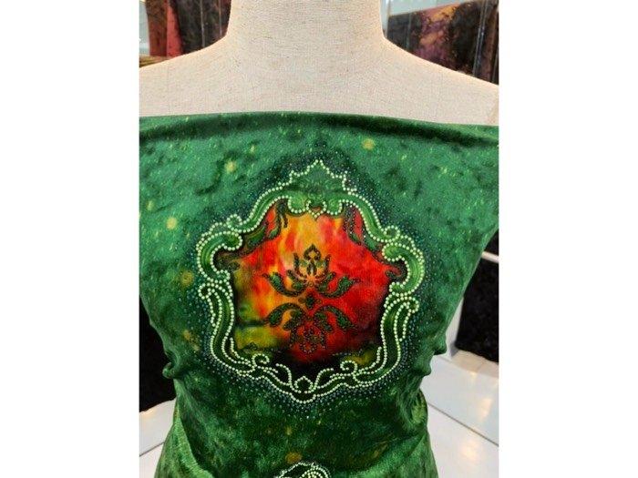 Vải áo dài nhung đính đá 9195-28 của vải áo dài Kim Ngọc2