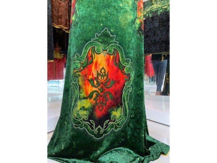 Vải áo dài nhung đính đá 9195-28 của vải áo dài Kim Ngọc4