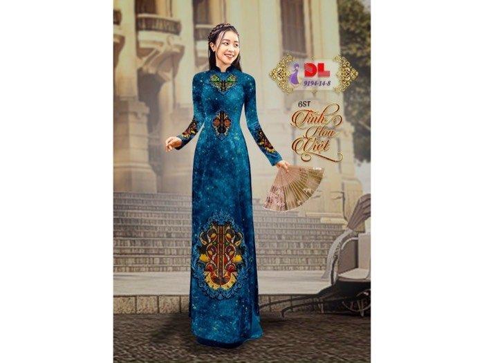 Vải áo dài nhung đính đá 9194-14-8 của vải áo dài Kim Ngọc0