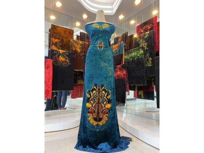 Vải áo dài nhung đính đá 9194-14-8 của vải áo dài Kim Ngọc1