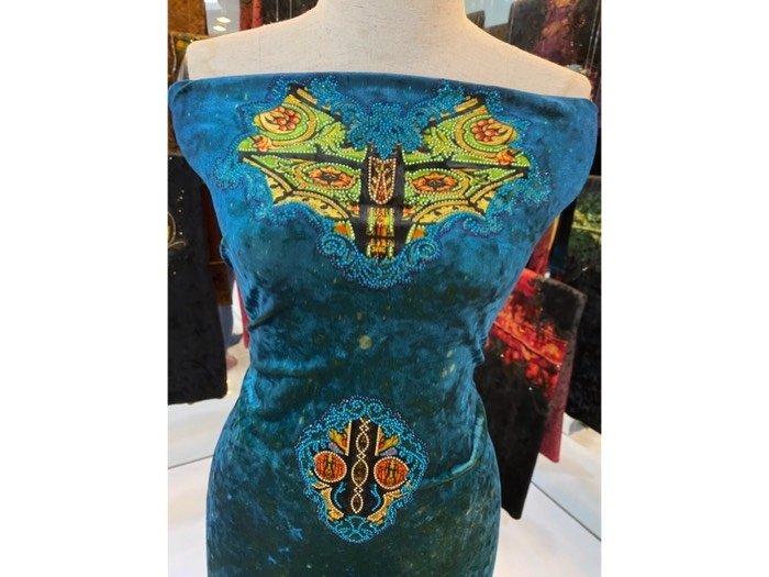 Vải áo dài nhung đính đá 9194-14-8 của vải áo dài Kim Ngọc2