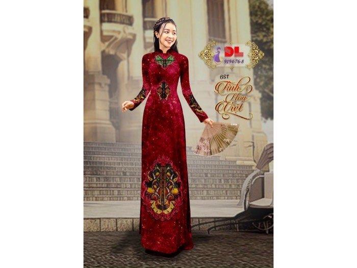 Vải áo dài nhung đính đá 9194-76-8 của vải áo dài Kim Ngọc0