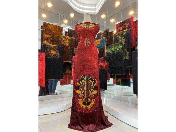 Vải áo dài nhung đính đá 9194-76-8 của vải áo dài Kim Ngọc1