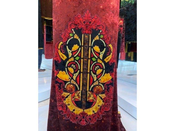 Vải áo dài nhung đính đá 9194-76-8 của vải áo dài Kim Ngọc4