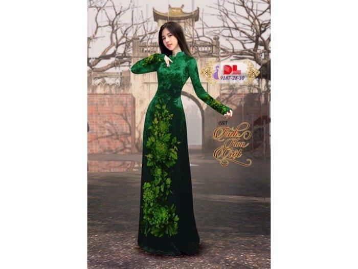 Vải áo dài nhung đính đá 9187-28-10 của vải áo dài Kim Ngọc0
