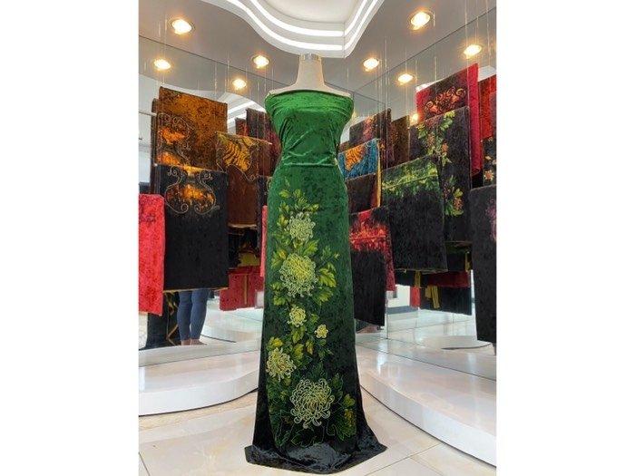 Vải áo dài nhung đính đá 9187-28-10 của vải áo dài Kim Ngọc1