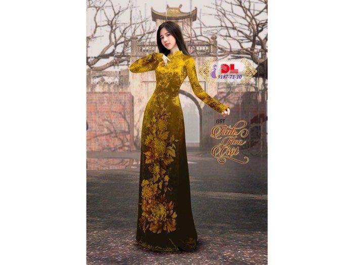 Vải áo dài nhung đính đá 9187-71-100