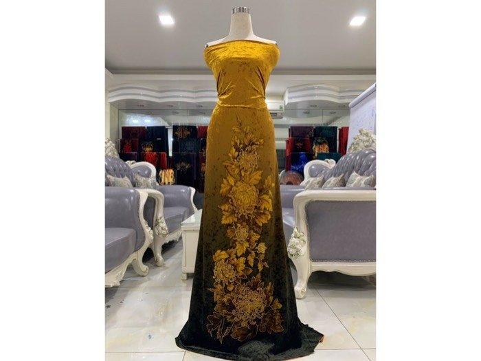 Vải áo dài nhung đính đá 9187-71-101