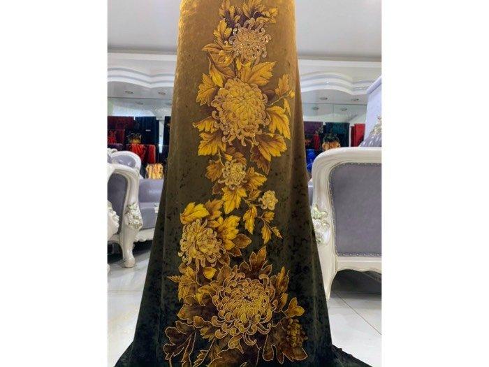 Vải áo dài nhung đính đá 9187-71-102