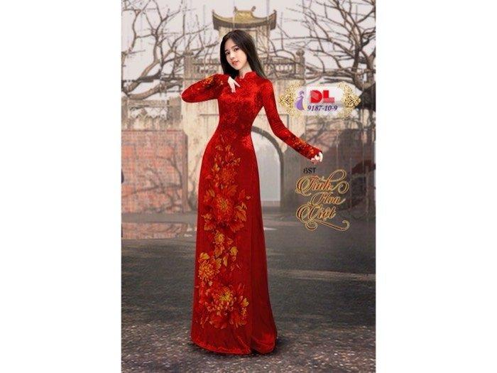 Vải áo dài nhung đính đá 9187-10-9 của vải áo dài Kim Ngọc0
