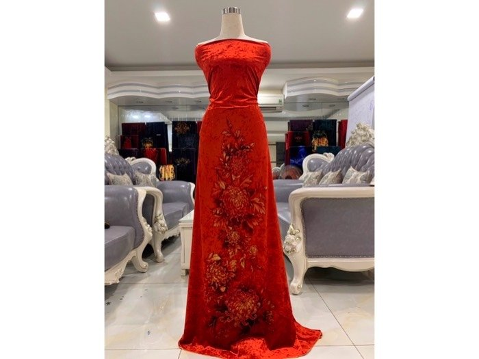 Vải áo dài nhung đính đá 9187-10-9 của vải áo dài Kim Ngọc1