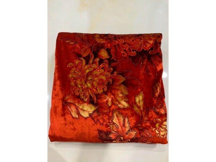 Vải áo dài nhung đính đá 9187-10-9 của vải áo dài Kim Ngọc2