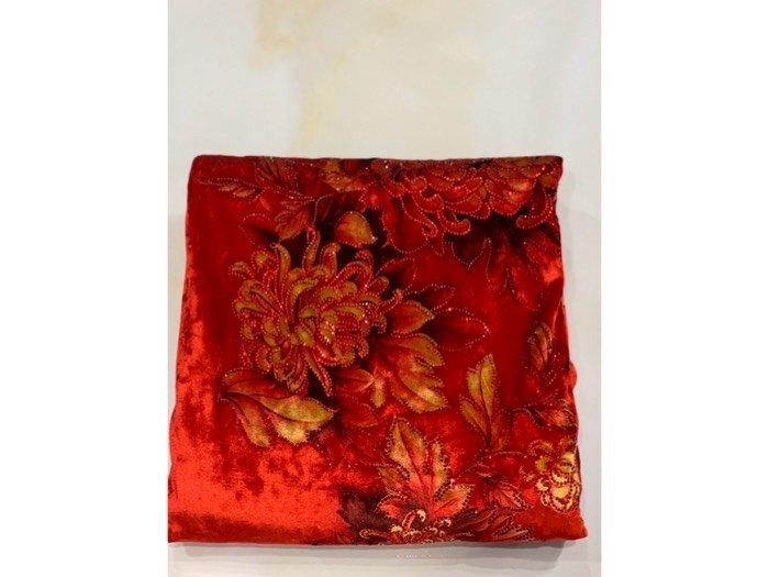 Vải áo dài nhung đính đá 9187-10-9 của vải áo dài Kim Ngọc3