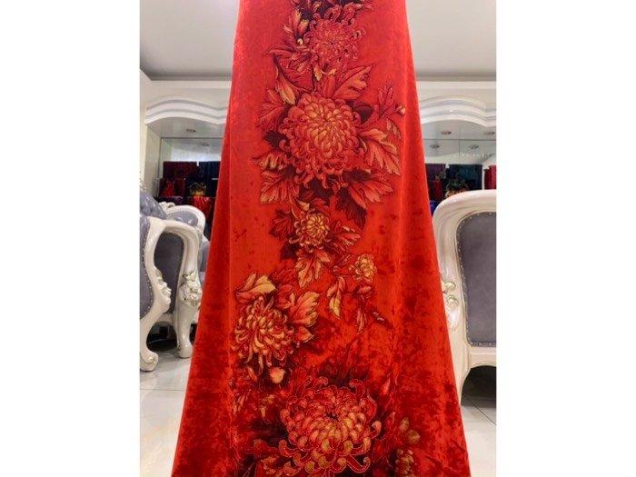 Vải áo dài nhung đính đá 9187-10-9 của vải áo dài Kim Ngọc4