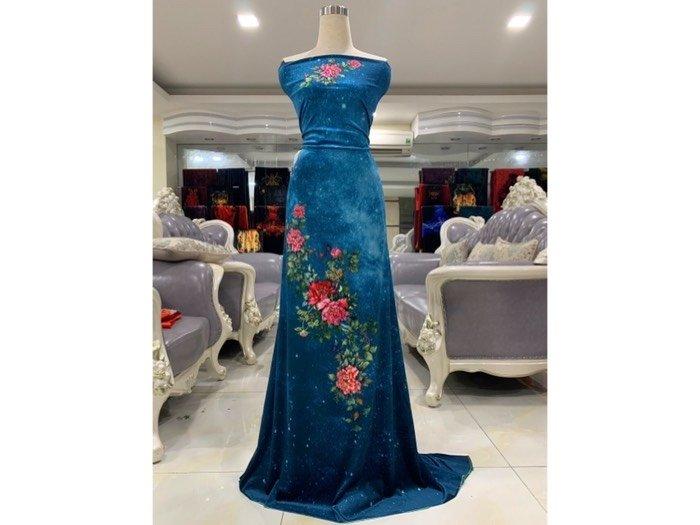 Vải nhung đính đá 9203-14 của vải áo dài Kim Ngọc1