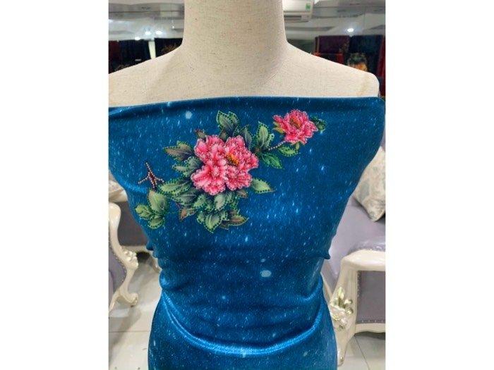 Vải nhung đính đá 9203-14 của vải áo dài Kim Ngọc2