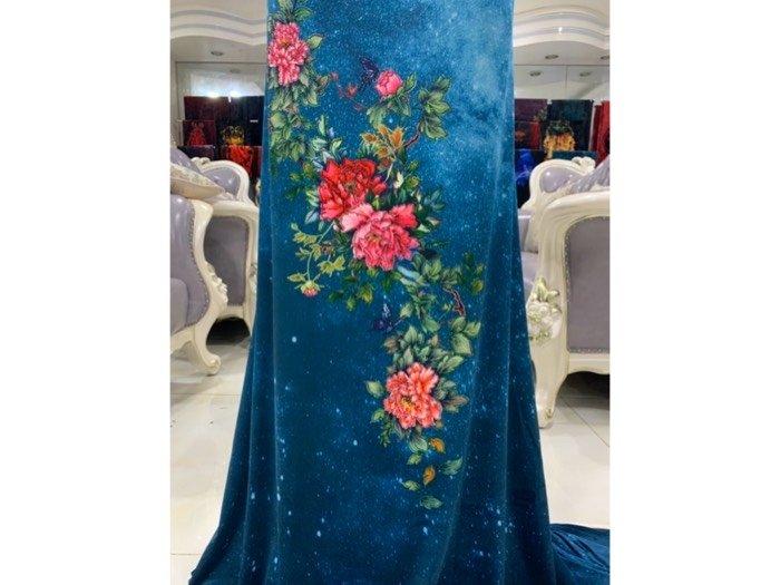 Vải nhung đính đá 9203-14 của vải áo dài Kim Ngọc3