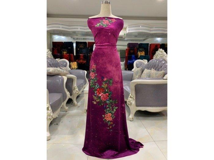 Vải áo dài nhung đính đá 9203-52 của vải áo dài Kim Ngọc1